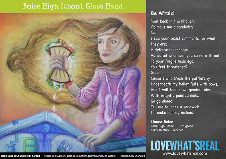High School Chalk HeART - Boise High School, Glass Hand