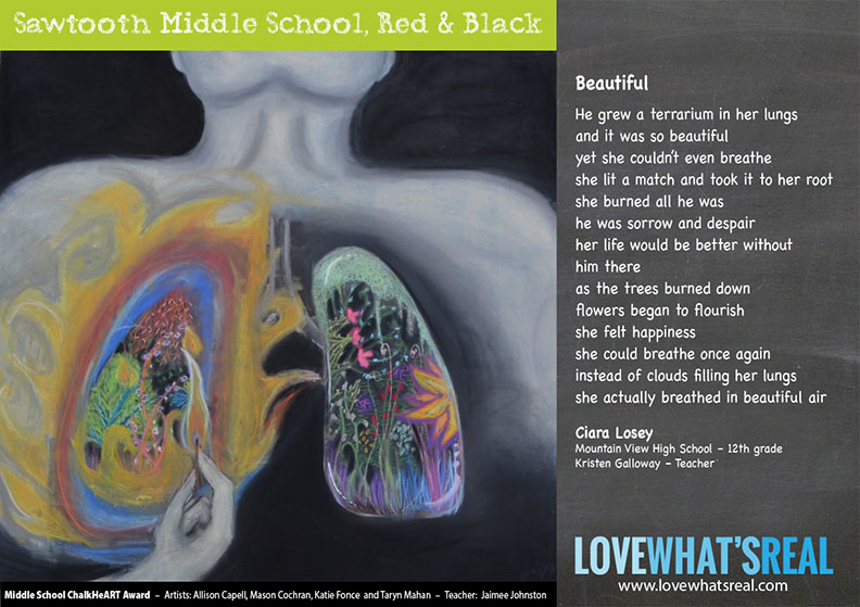 Middle School Chalk HeART Award Sawtooth Middle School, Red & Black